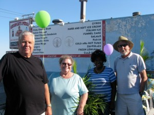Seaside Heights Mayor Ken Hershey hosted the first party of his new home at Carteret Avenue and The Boardwalk on Labor Day Monday. Shown here are The Mayor, Councilwoman Arline Ottoson, friend Cali, and Richard Hershey, visiting his brother and hometown.